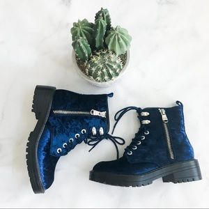 cb20705c1b5 Steve Madden Revive Blue Velvet Lace Up Boots NWT